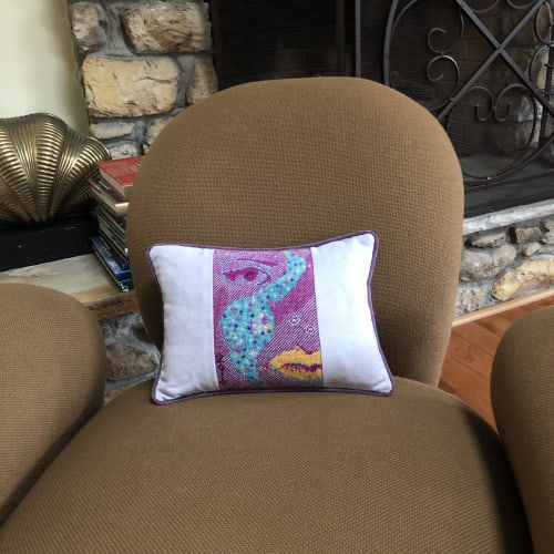 Pillows by Mommani Threads seen at Private Residence, Blowing Rock - Ochre Smoke designer needlepoint pillow / one of a kind