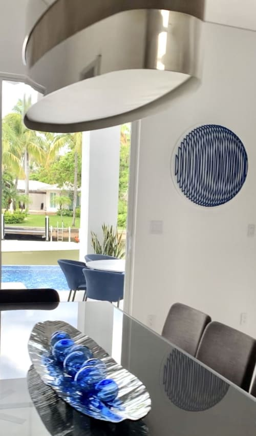 Paintings by Adriana Dorta seen at Private Residence, Key Biscayne - Sphere Blue