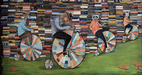 "Murals by Mike Stilkey seen at Monrovia Public Library, Monrovia - ""Sunday Drive"" mural"