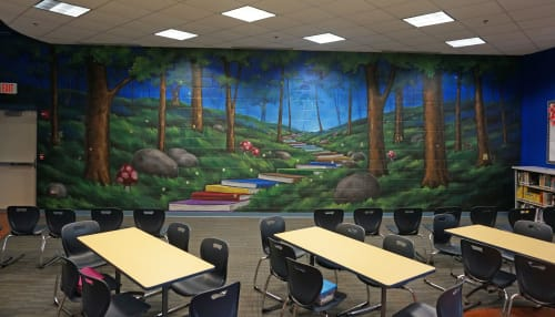 Murals by Crayons Gone Wild . Ken Markiewicz seen at Copeland Manor Elementary School, Libertyville - Path to Enlightenment