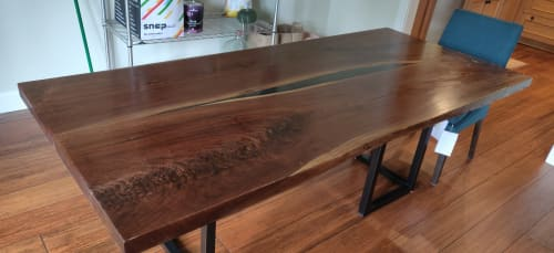 Tables by KC Exotic Woodworks LLC seen at Private Residence, Seabrook - Black walnut slab table