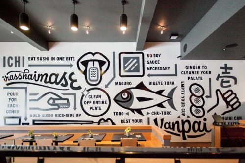 Murals by Friends of Type seen at ICHI Sushi + NI Bar, San Francisco - Ichi Sushi