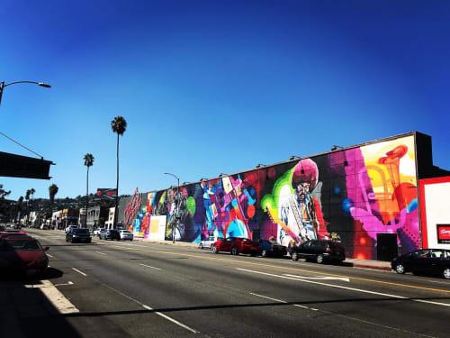 Street Murals by Yanoe seen at Guitar Center, Los Angeles - Mural