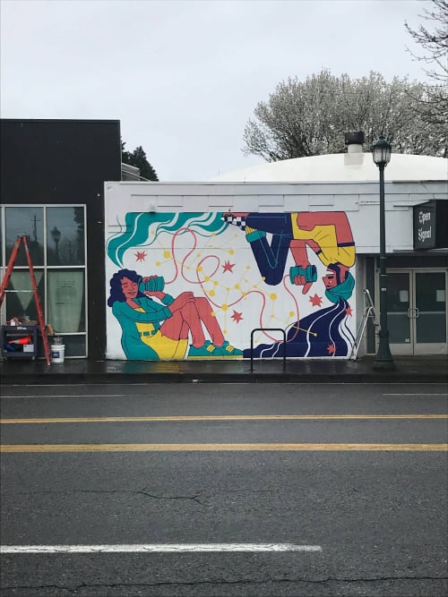 "Street Murals by Bizar Gomez seen at 2766 NE Martin Luther King Jr Blvd, Portland - ""Let's Talk"""
