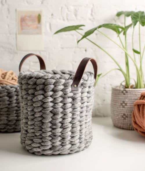 Vases & Vessels by Flax & Twine seen at Private Residence, Denver - Felted Wool Woven Basket with Handle