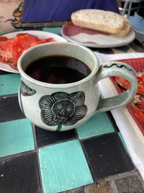 Cups by Muddythings by Mayon Hanania seen at Creator's Studio, Los Angeles - Skull Flower mug - Custom order