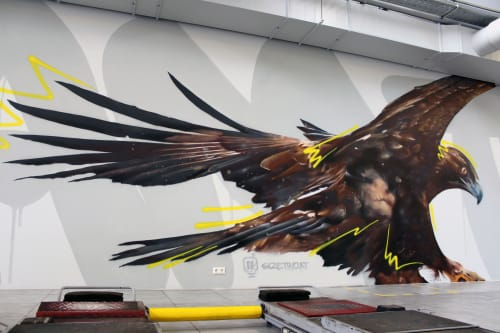 Murals by SIZETWO seen at ÖAMTc, Linz - Wild Eagle