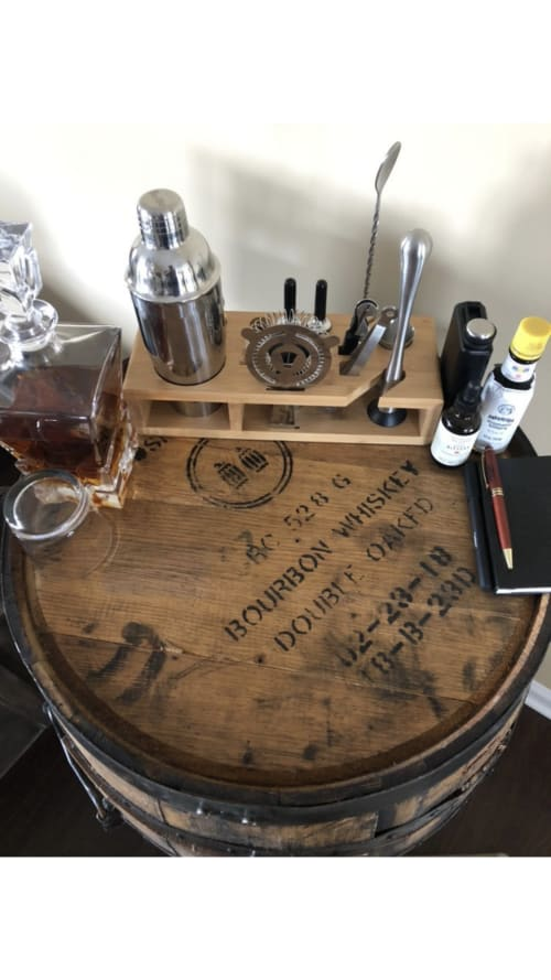 Furniture by Colonial Blade and Wood seen at Private Residence, Fort Campbell - Woodford Reserve Double Oaked Bourbon Barrel Cabinet