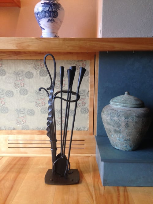 Furniture by Medwedeff Forge and Design seen at Private Residence - Fire Place Tools and Screen