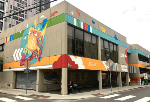 Murals by Silvia López Chavez seen at Cambridge Public Library - Central Square Branch, Cambridge - Creative Freedom Mural
