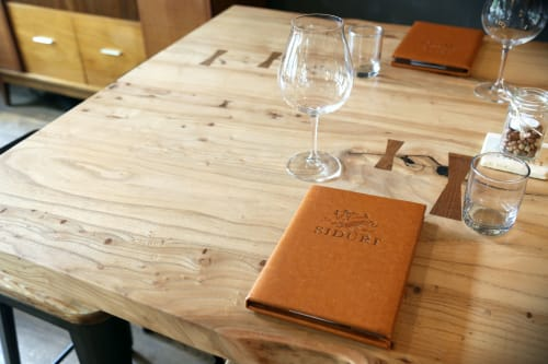Tables by Urban Lumber Co. seen at Siduri Wine Bar and Tasting Lounge, Healdsburg - Live Edge Elm Table
