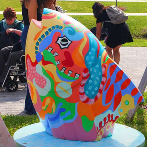 Public Sculptures by Missy Pierce seen at Pompano Beach Cultural Center, Pompano Beach - Painted city sculptures--public art
