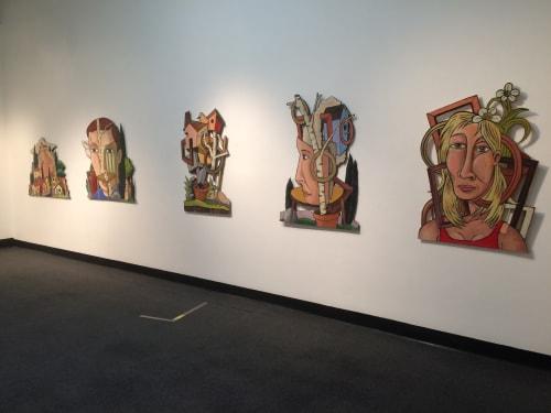 Paintings by Kelly Detweiler seen at Santa Clara University, Santa Clara - installation of cut-out pieces