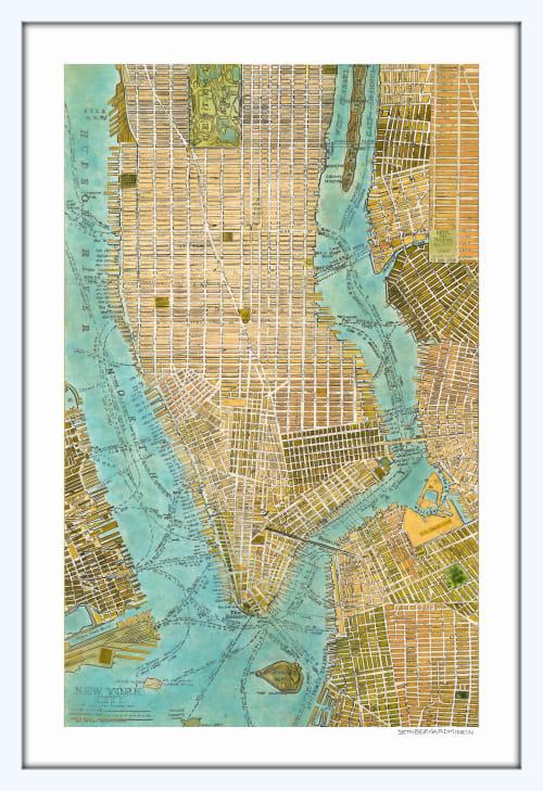 Art & Wall Decor by Seth B Minkin Fine Art at Seth B Minkin Studio + Showroom, Boston - Manhattan Map | Limited Edition Print | Multiple Sizes Available