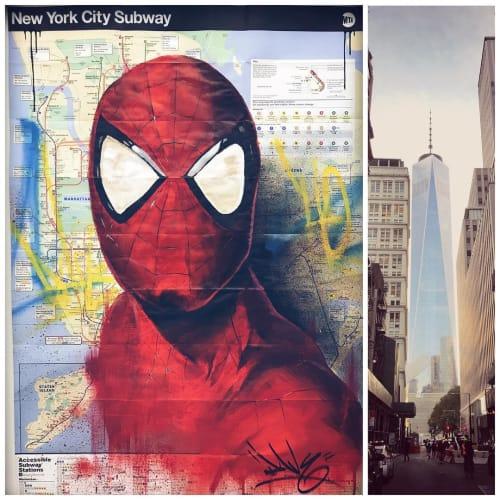 Street Murals by Dave Baranes seen at Subway, New York - Spiderman