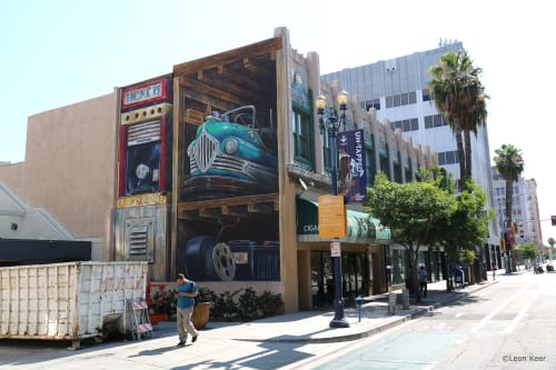 Murals by Leon Keer seen at 107 W Broadway, Long Beach - Dodg'em, Go where you like...If you can