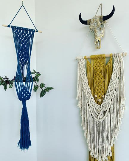 Macrame Wall Hanging by Hawks Nest Macrame seen at Private residence, Tauranga - Triple Diamond Beaded Mustard and Natural Tone Wall Hanging