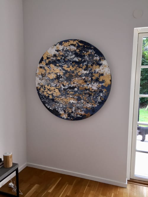 Paintings by Chelsea Davine Artist seen at Private Residence, Malmö - Pale Meridian (gold leaf on black steel)