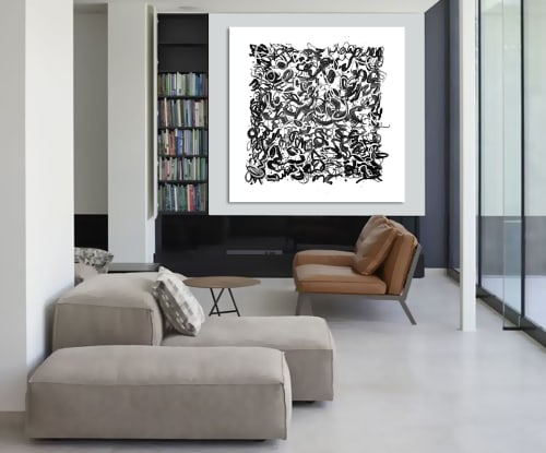 Paintings by Linnea Heide contemporary fine art seen at Private Residence, Tokyo - 'FLiP THE SCRiPT' original abstract painting by Linnea Heide