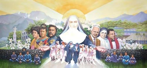 Murals by Sabado Studios seen at St. Francis Medical Healthcare Systems of Hawaii, Honolulu - Saint Francis Hospital Mural