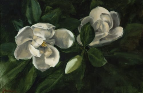 Paintings by Justine Hutchison seen at Private Residence, Castlemaine - Magnolia grandiflora / Roses from my garden