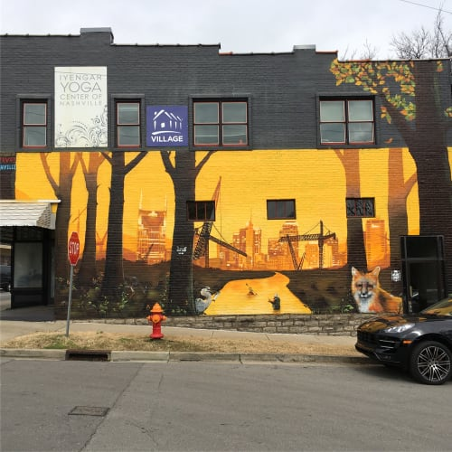 Murals by Eric 'Mobē' Bass seen at 12South Yoga, Nashville - The Rivive Nashville Mural