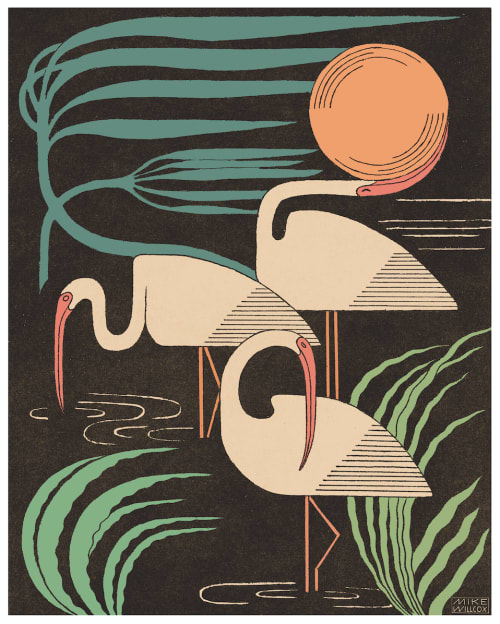 Art & Wall Decor by Mike Willcox seen at Private Residence, Albany - Ibis & Hurricane Print
