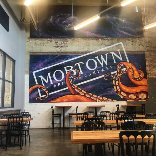 Murals by Murals by Marshall Adams seen at Mobtown Brewing Company, Baltimore - Space Octopus Mural