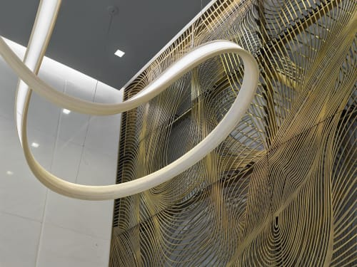 Architecture by Amuneal seen at 450 7th Ave, New York - 450 Seventh Ave Feature Walls