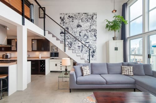 Murals by Tim Barnard seen at Private Residence, Vancouver - Interior Installation