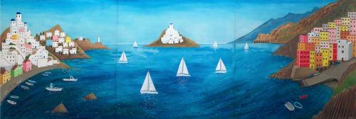 Murals by James Croft seen at Charles Clifford Dental Hospital, Sheffield - Deep blue seascape