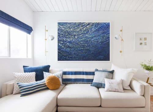 Paintings by Margaret Juul seen at Private Residence - Refreshing Swim Modern Seascape 36 x 48""