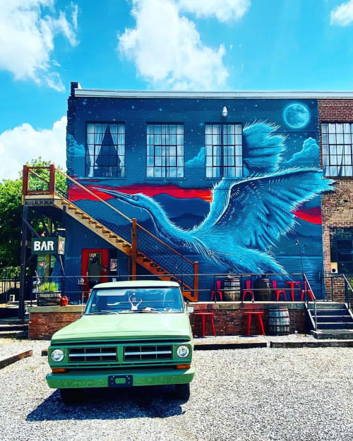"Murals by Andy Herod seen at Asheville Cotton Mill Studios, Asheville - ""Great Blue Heron"""