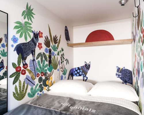 Murals by Niky Röhreke seen at The Millennials Shibuya, Shibuya-ku - Millennials Hotel Mural
