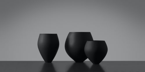 Cups by SGHR Sugahara seen at Creator's Studio, Chiba - RELAX Handcrafted Matte Black Glass 21.6oz