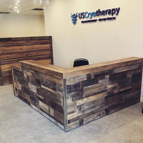 Furniture by Ross Alan Reclaimed Lumber seen at US Cryotherapy Studio City, Los Angeles - Reception desk and Wood Wall