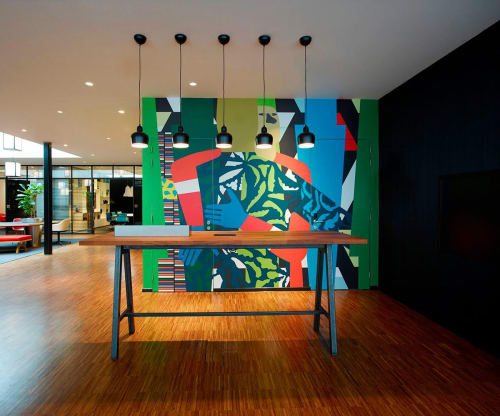 Murals by Anuli Croon seen at citizenM Rotterdam Hotel, Rotterdam - Tryptich  Wallpaper XL Mug & Phiz, Trees & Architecture