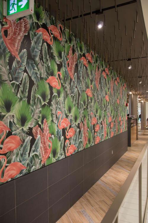 Wallpaper by Candice Kaye Design seen at Palm Lane, Toronto - Custom Wallpaper