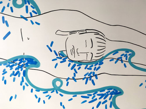 Murals by Kira Buckel seen at Freehand NYC, New York - Boy in Waves
