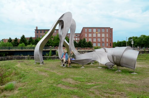 Public Sculptures by Nancy Selvage seen at Point Park, Lowell - Hydro