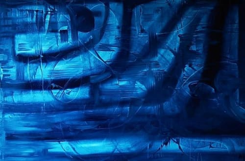 """Paintings by Aubrey Higgin seen at RS Clare, Liverpool - """"Inferno, X-ray and Autumn"""" Painting"""