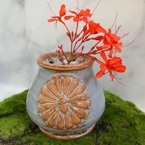 Vases & Vessels by Queen Bee Pottery seen at Queen Bee Pottery Studio, Coconut Creek - Ceramic Honey Bee Vase