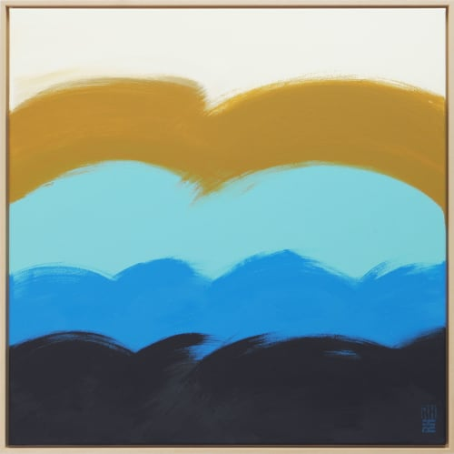 Paintings by Ronald Hunter seen at Roxier Art Gallery, Rotterdam - The Wave in Blue