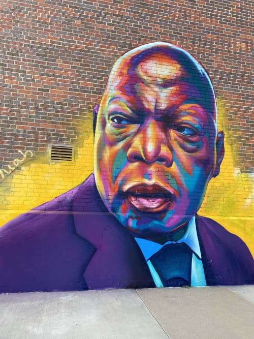 Street Murals by Detour seen at East 40th Avenue & Franklin Street, Denver - John Lewis Tribute mural