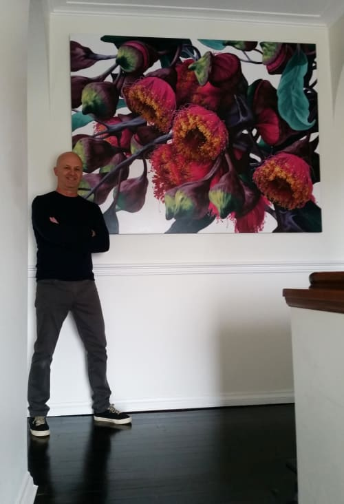 Paintings by Simon Barlow seen at Private Residence, Pymble - Gums Flowers , 145x186cm, acrylic on canvas