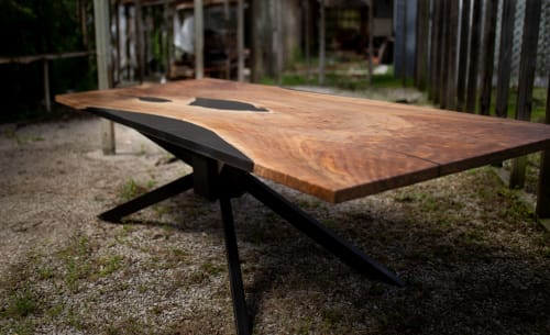 Tables by Adrian Vogel seen at Private Residence, Kansas City - Walnut and Black Epoxy Single Slab Dining / Conference Table