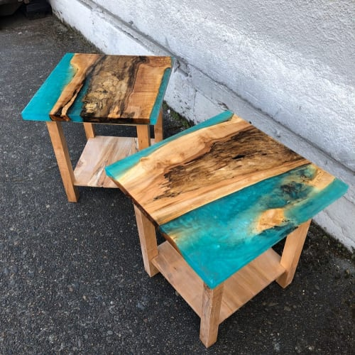 Tables by Black Rose WoodCraft seen at Private Residence, Portland - Maple & Aqua Resin Side Tables