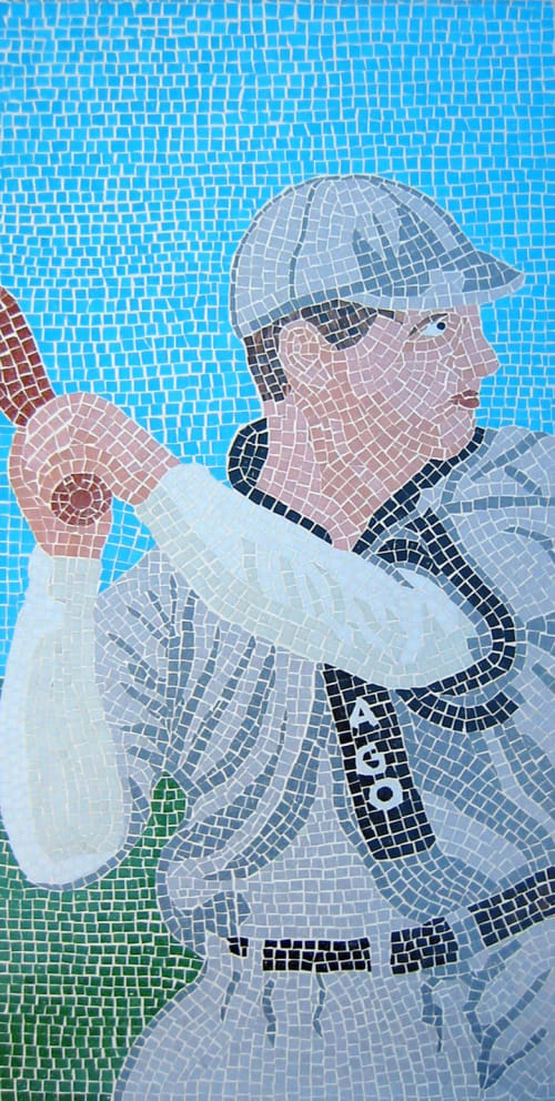 Murals by John T Unger seen at Lakeview Baseball Club, Chicago - Tinker to Evers to Chance glass mosaic