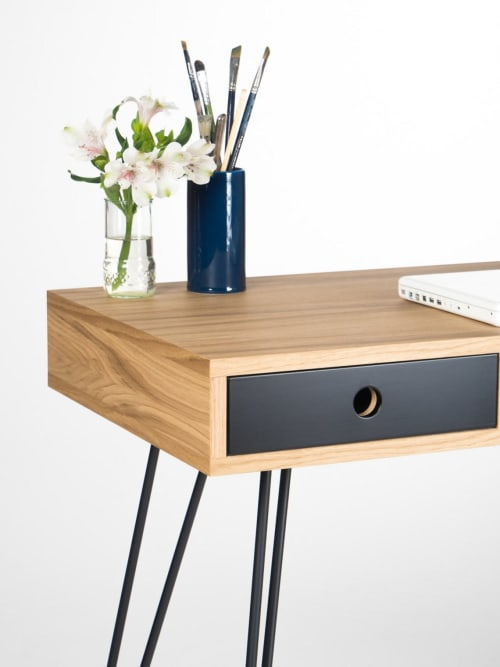 Furniture by Mo Woodwork - Home office desk, industrial small table, with black drawers