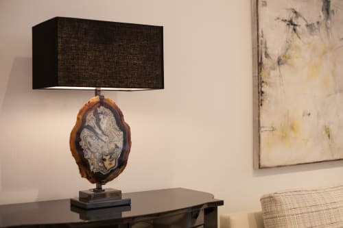 Lamps by Ron Dier Design seen at Interior Crafts Inc., Chicago - 2 Tone Agate Lamps and Free form Onyx Bowl